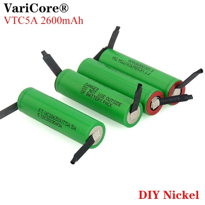 VariCore VTC5A 2600mAh 18650 литиевая батарея 30A разрядка 18650VTC5 батареи + DIY никелевые листы