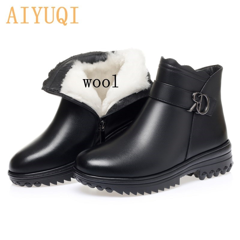 AIYUQI Women's Winter Boots Mother Wedges Large Size Warm Wool Women Snow Boots Non-slip Genuine Leather Ladies Short Boots