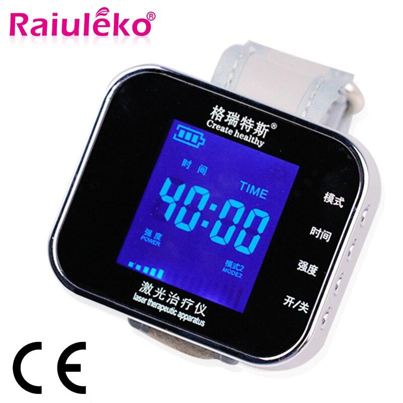 650nm diodo Laser Relógio Relógio de Pulso LLLT Diabéticos Terapia Para Rinite Tratamento Da Hipertensão Colesterol Trombose