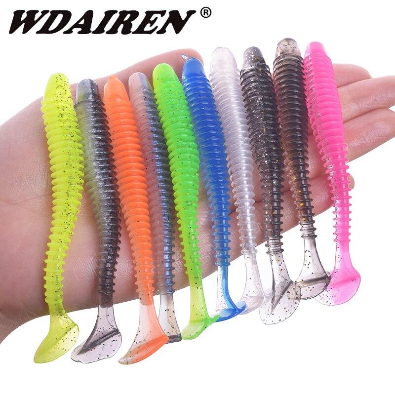 WDAIREN, anzuelo de impacto oscilante, anzuelo de pesca 50mm 70mm 95mm, cebos blandos para pesca, cebos de silicona de doble Color