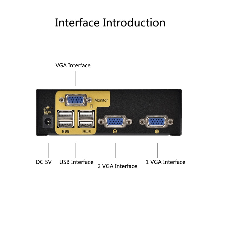 2 Port USB KVM Switch Suitable For Two Host Monitoring Hard Disk To Share a Set Of Keyboard Mouse And Monitor 2 in 1out enlarge