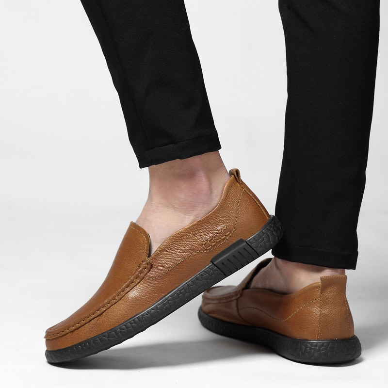 Handmade Genuine Leather Men Flats, Fashion Soft Shoes Loafers men Moccasins zapatos hombre Dropshipping