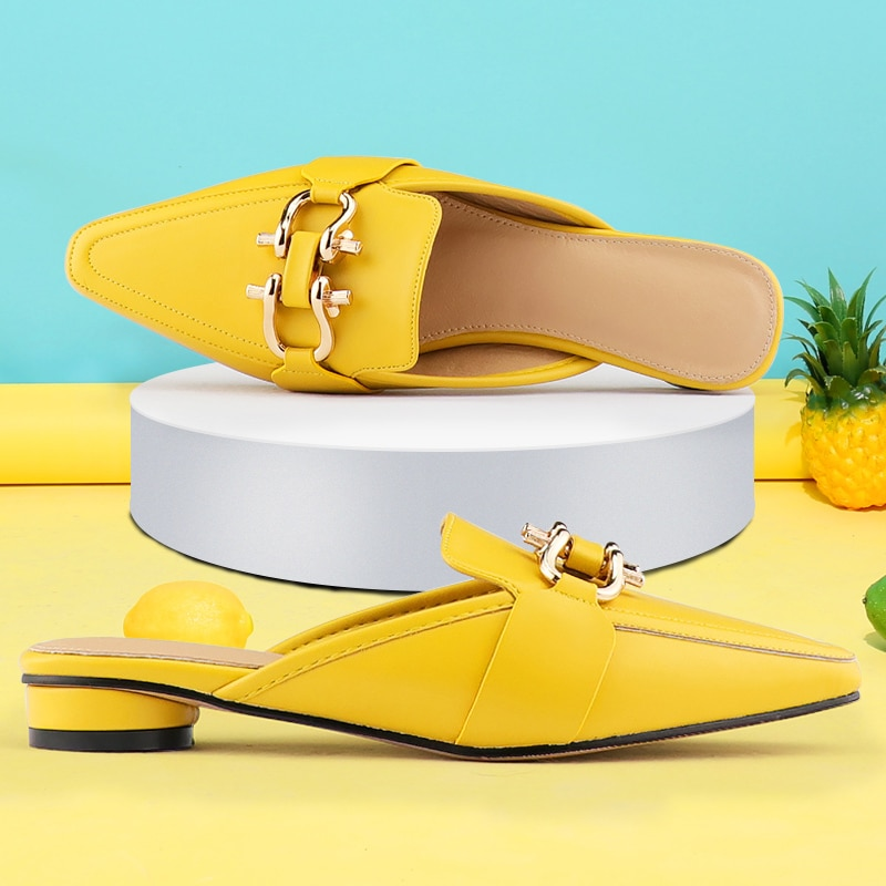 Summer Women sandals Metal Mules shoes women flats Comfortable Pointed Toe Ladies Office Shoes woman