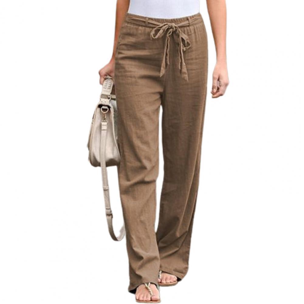 Брюки Женские однотонные с поясом на резинке, тонкие прямые длинные штаны с широкими штанинами, женская одежда