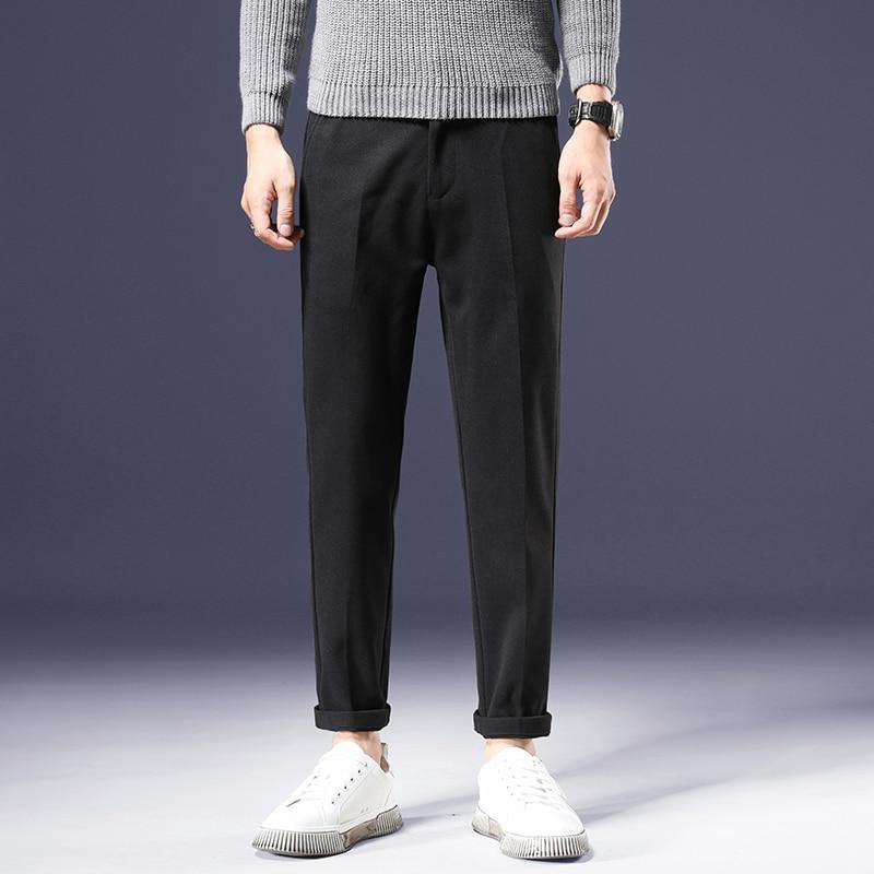 Высококачественные мужские осенне-зимние плотные Костюмные брюки, повседневные шерстяные прямые брюки, мужские брюки с эластичным поясом