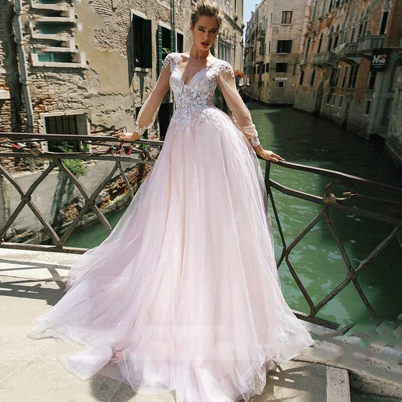 Красивый кружевной топ, свадебные платья, светильник, Розовые Свадебные платья 2020, скромный v-образный вырез, индивидуальный онлайн халат De ...