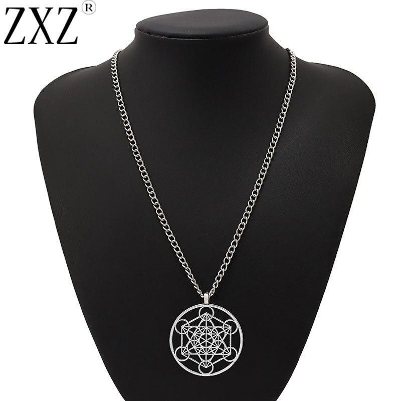 "ZXZ Large Round Archangel Metatron Cubes Pendant on Long Chain Necklace Lagenlook 34"""