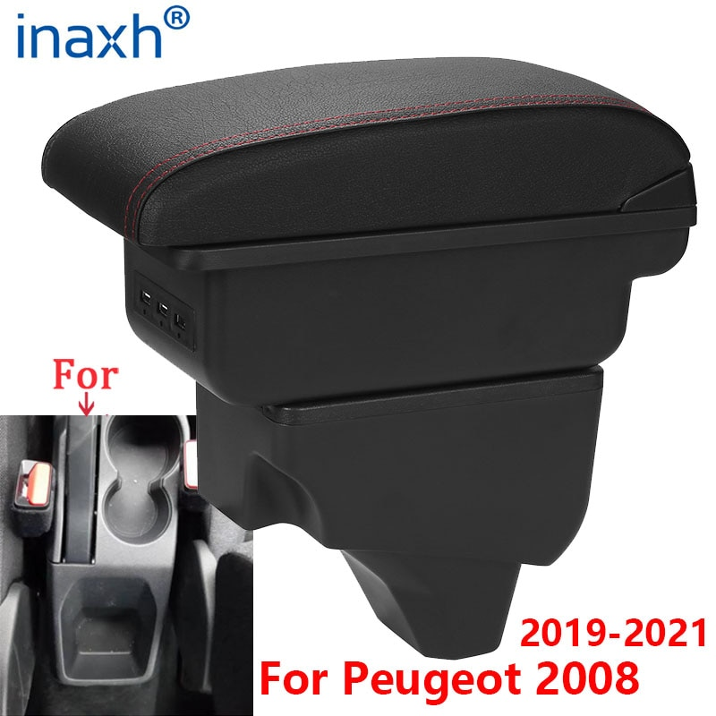 For Peugeot 2008 Armrest For Peugeot 208 Car Armrest box 2019 2020 2021 Retrofit parts Interior Storage box accessories USB LED for suzuki swift armrest box 2005 2019 car armrest car accessories interior storage box retrofit parts usb 2011 2014 2017 2018