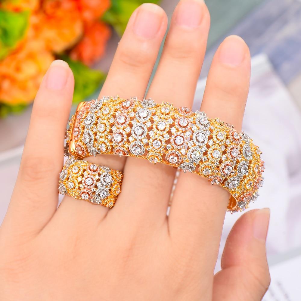 SisCathy Luxo Conjuntos de Jóias Na Moda Para As Mulheres Dubai Nupcial Do Casamento CZ Zircão Pulseira Anel Conjuntos modernos aretes de mujer 2019