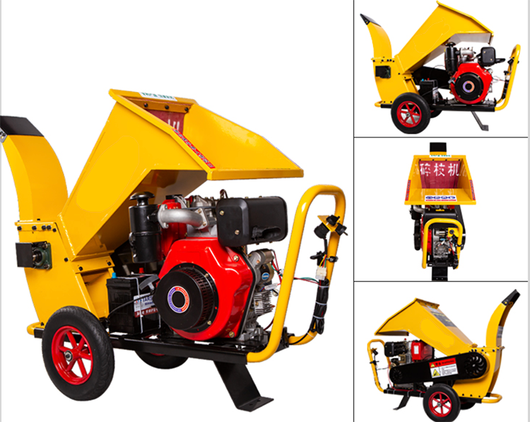 Diesel Electric Starter Wood Crusher Orchard Branch Crusher Garden Agriculture Machinery Mobile Tree Crusher enlarge