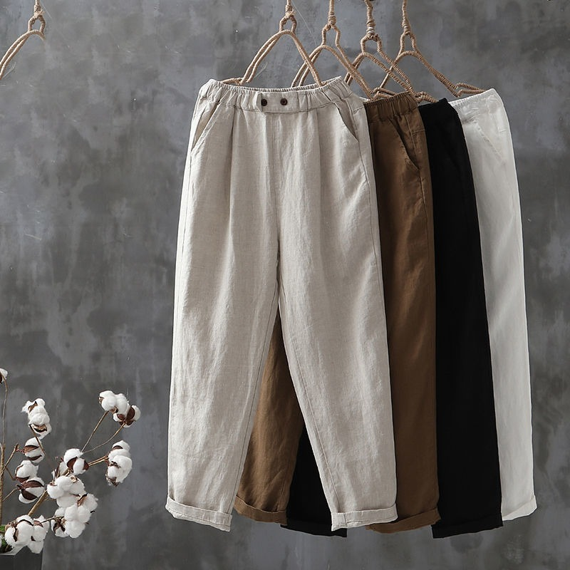 Cotton Linen Pants Women Spring Summer Ankle-Length Trousers Female Elastic Waist Casual Loose Solid