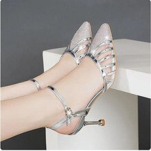 Cresfimix Female Sexy Party High Quality Summer Hollow High Heel Shoes for Wedding Women Silver Stil