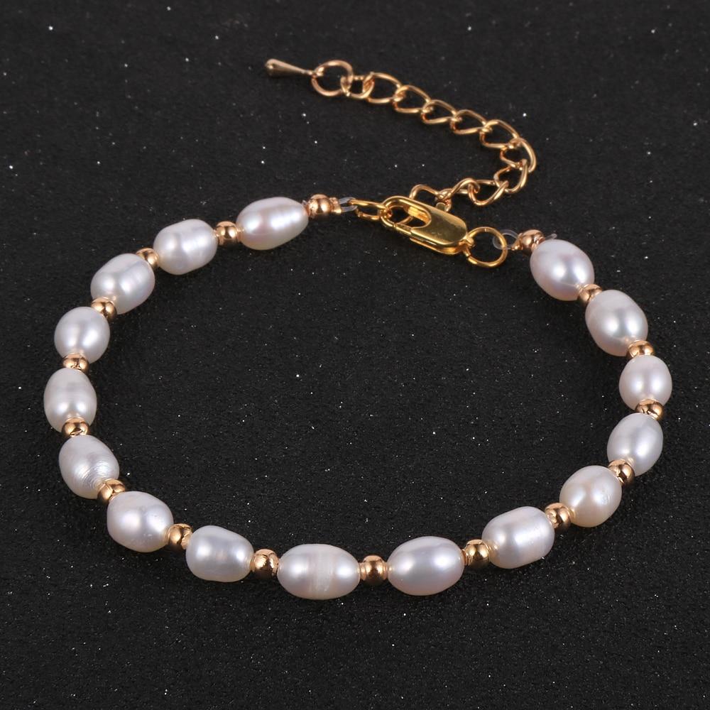 Clássico real natural de água doce pérola pulseira para mulheres coreano moda casamento jóias presentes #639