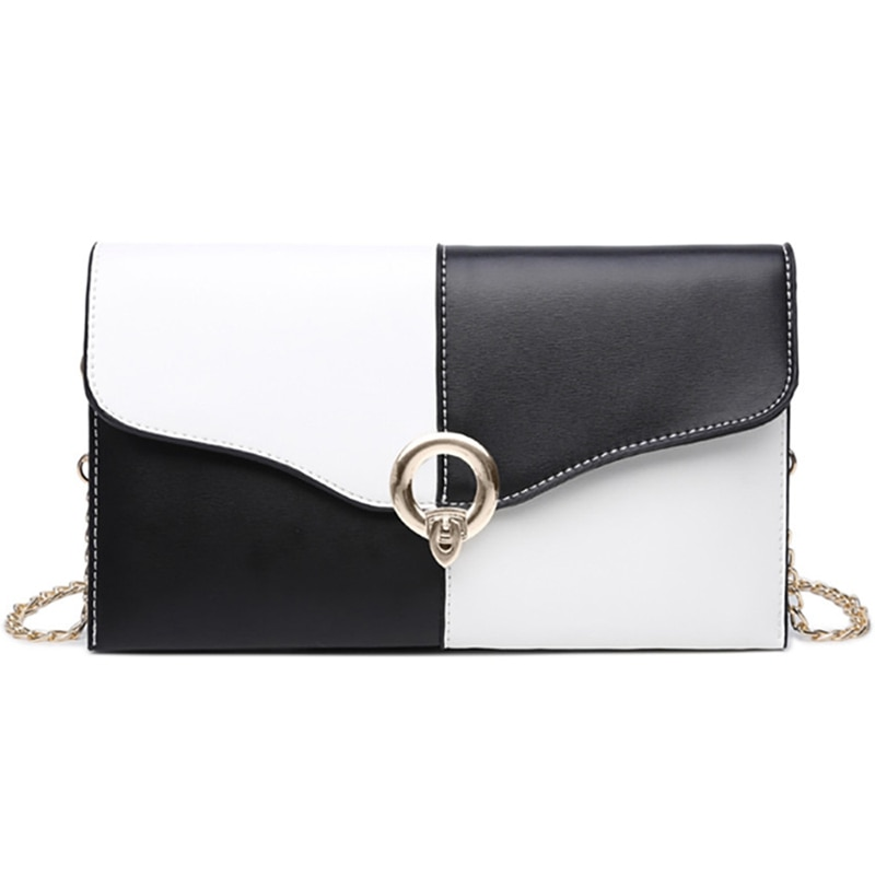 Women'S Wild Bag Envelope Bag Tote Personality Fashion Wild Messenger Bag Lady Bag Black And White Stitching Bag Black