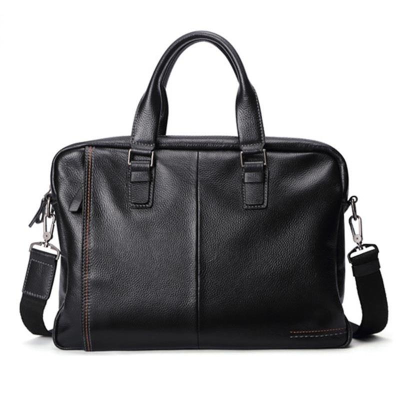 2021 New Natural Cowskin 100% Genuine Leather Men's Briefcase Fashion Large Capacity Business bag Black Male Shoulder Laptop Bag
