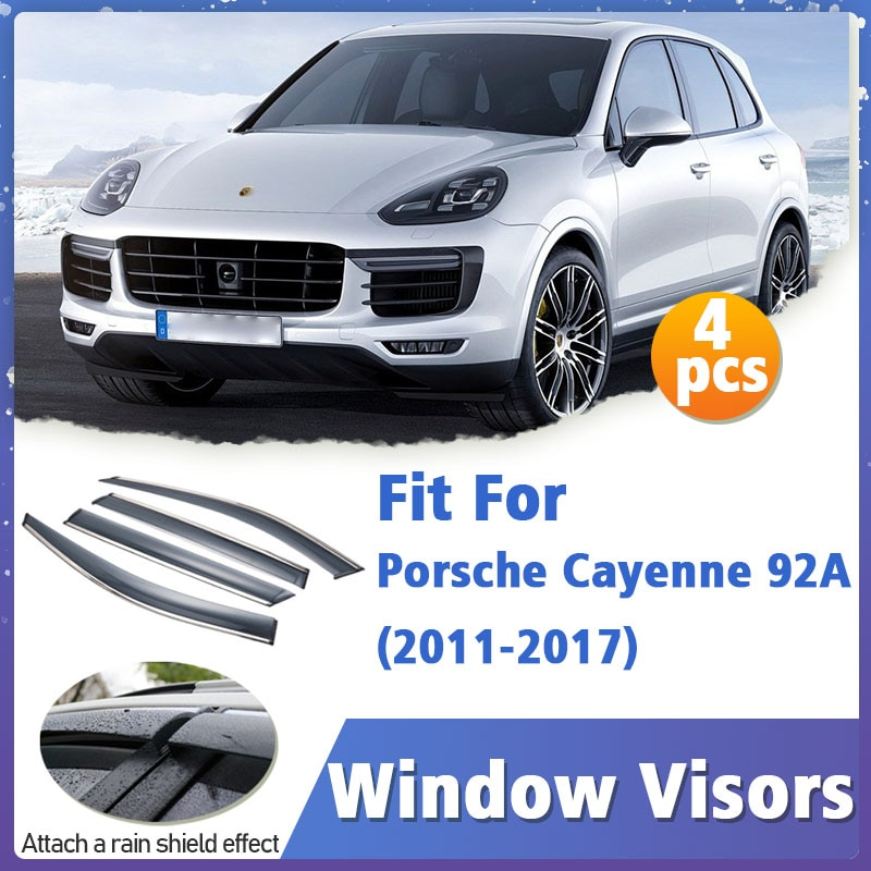 Window Visors Guard for Porsche Cayenne 92A 2011-2017 Cover Trim Awnings Shelters Protection Guard Deflector Rain Rhield 4pcs