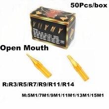 Puntas de tatuaje plástico RT FT 50 piezas redondo plano dorado tiburón esterilizado agujas de la boquilla desechables puntas para la máquina de la pistola del tatuaje aguja