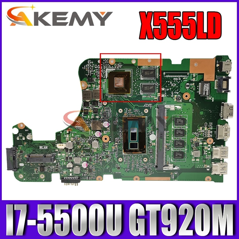 Akemy X555LD اللوحة الأم لأجهزة الكمبيوتر المحمول ASUS X555LJ X555L اللوحة الرئيسية الأصلية 4GB-RAM I7-5500U GT920M LVDS
