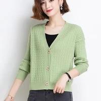 ljsxls autumn knitted sweater korean fashion cardigan feminino women long sleeve top v neck winter clothes 2021 sueters de mujer