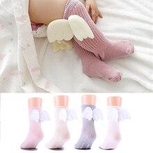 Dla wieku 0-4Y skarpetki dziecięce dziecięce skarpetki dziewczęce podkolanówki wysokie skrzydła anioła z gruzami podeszwy ocieplacz na nogi ubranka dla dzieci