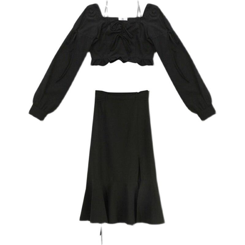 Women Skirt Suit Sweet Cool Wind Dark Suit Short Shirt Top Split Skirt Small Two Piece Set Early Aut