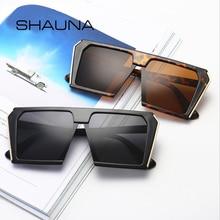 SHAUNA-lunettes de soleil pour hommes   Haut plat surdimensionné carré, lunettes de soleil rétro, violet, bleu, rose