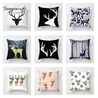 fuwatacchi christmas deer cushion cover black red white deer head pillow cover for decor sofa chair decorative pillowcases