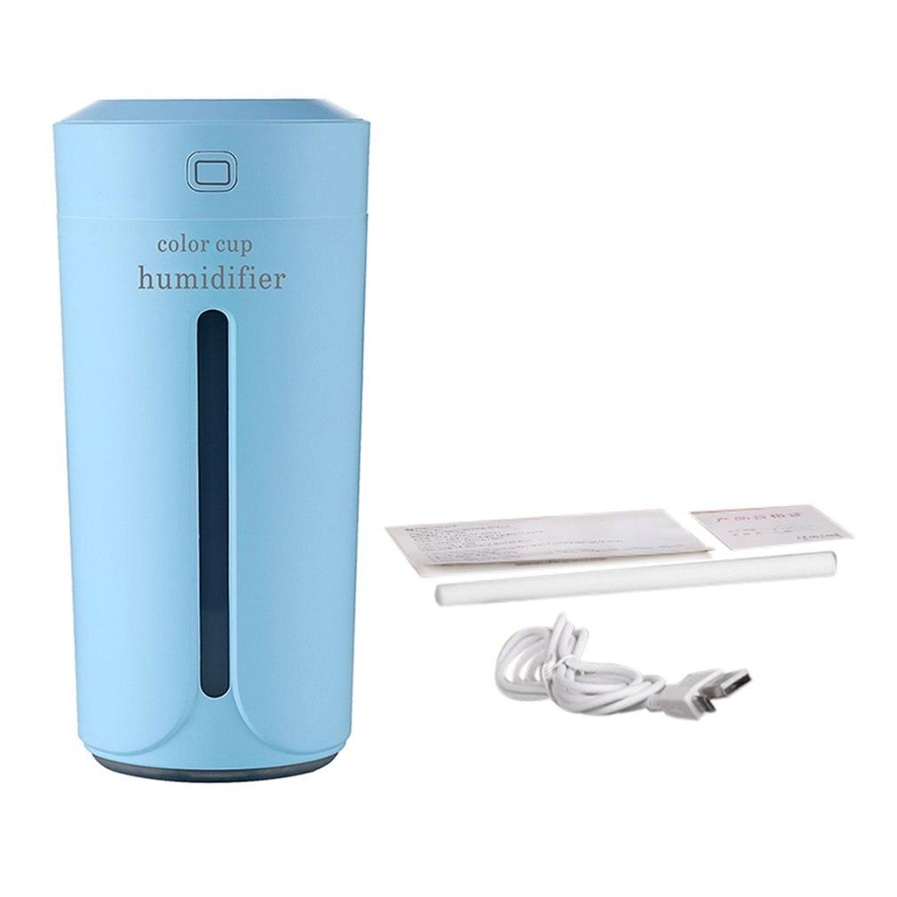 Humidificador de aire con forma de Mini taza, novedad de 230ML, silencioso con carga USB humidificador de aire, generador de niebla con luz nocturna de colores para el coche y el hogar