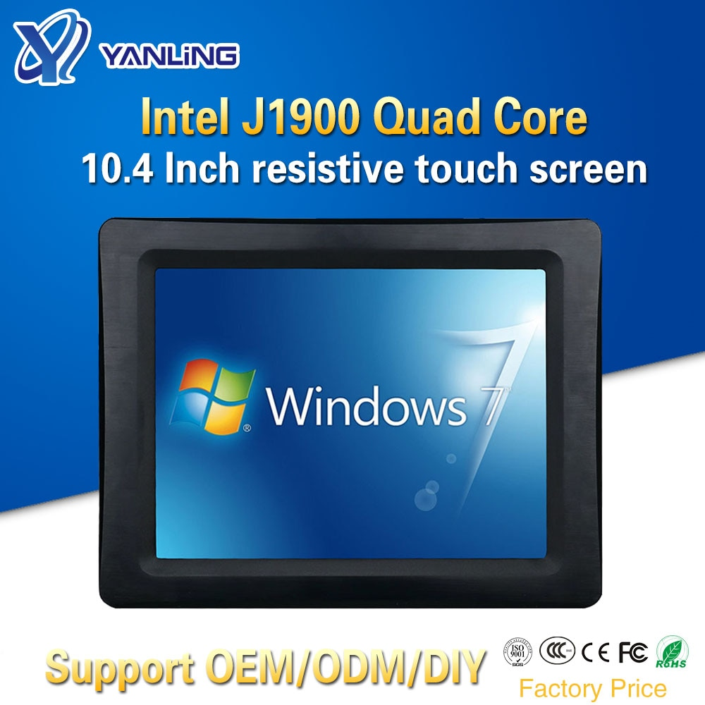 Yanling New 10.4'' Taiwan Five-wire Resistive Touch Screen Mini PC Intel J1900 Quad Core 2 COM Port All-in-one tablet computer