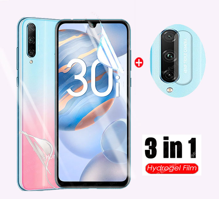 3 in 1 Hydrogel Film on for huawei honor 30i Russia Camera Screen Protector For honor 30 honor30 30 i safty back Film Not Glass