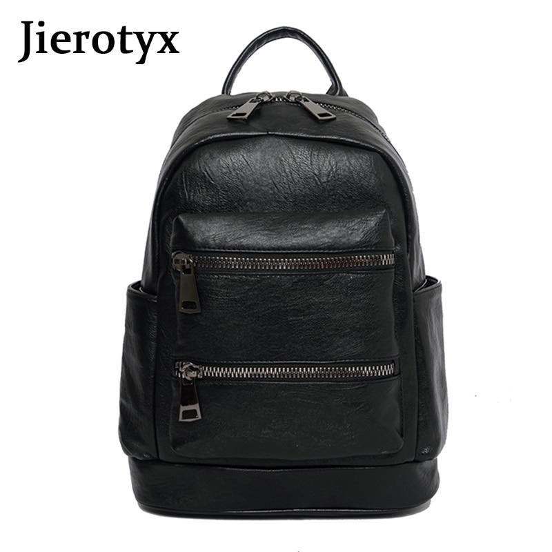 JIEROTYX Fashion splice Women Backpack PU Leather Retro Female bag schoolbags Teenage Girl High Quality Travel books Backpack