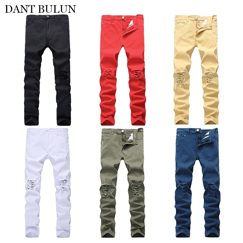 Ripped Jeans For Men Skinny Slim Stretchy Pants High Street Destroyed Hole Mens Jeans Streetwear Jeans Colorful Trousers Young five pockets destroyed skinny jeans
