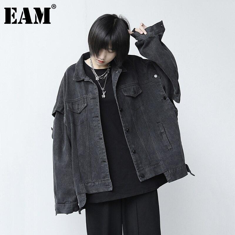 EAM-جاكيت جينز نسائي بقصة فضفاضة ، معطف نسائي بأكمام طويلة مع طية صدر السترة لربيع وخريف 2021 ، 1DB719