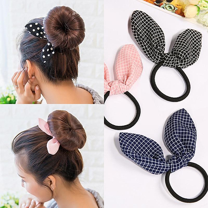 Lovely Rabbit Ear Scrunchies Women Girls Elastic Hair Rubber Band Accessories Ponytail Holders Handmade Gift Heandband