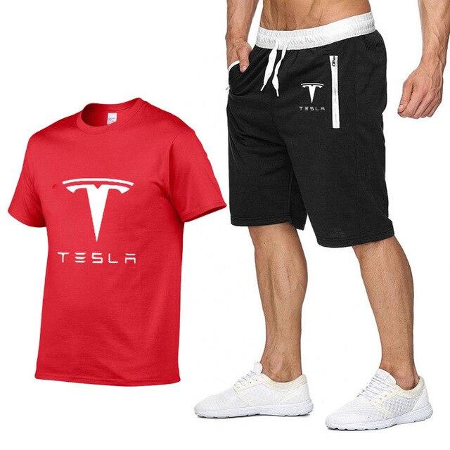 Mens Short sleeve for Tesla Car Logo Summer Mens t Shirt Harajuku Hip Hop high quality Cotton T Shirts pants suit Sportswear Q
