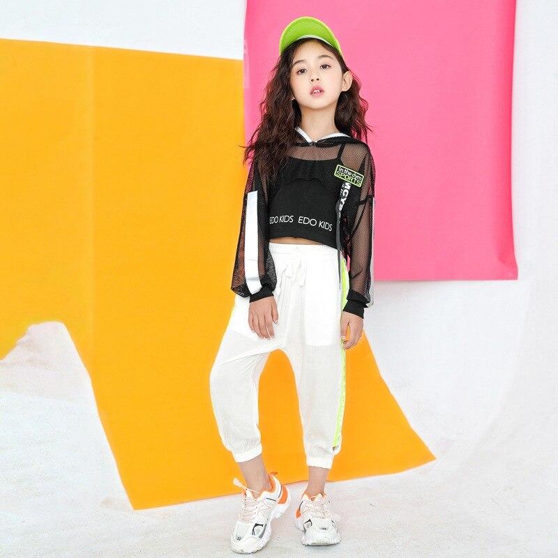 الفتيات الهيب هوب ملابس رقص موضة الشارع الرقص الهذيان الملابس الجاز مرحلة الأداء ملابس الاطفال الرقص ممارسة ارتداء DC4348