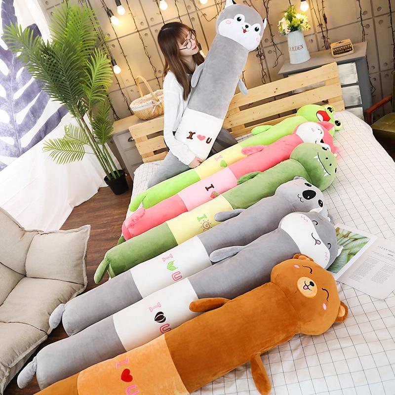 Kawaii Animals Cylindrical Plush Pillow Cartoon Long Animal Toy Frog Bear Koala Husky Fox Hamster Dino Stuff Sleeping Bolster HT