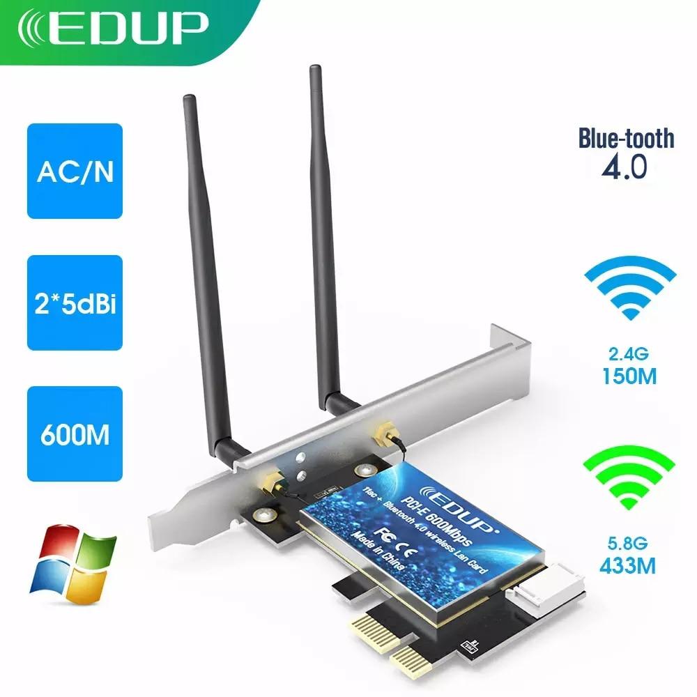 EDUP-بطاقة شبكة wi-fi ، 600 ميجابت في الثانية ، PCI Express ، 2.4 جيجاهرتز/5 جيجاهرتز ، لاسلكي ، أزرق الأسنان ، PCI-E LAN ، محول 802.11 ac/b/G/n للكمبيوتر