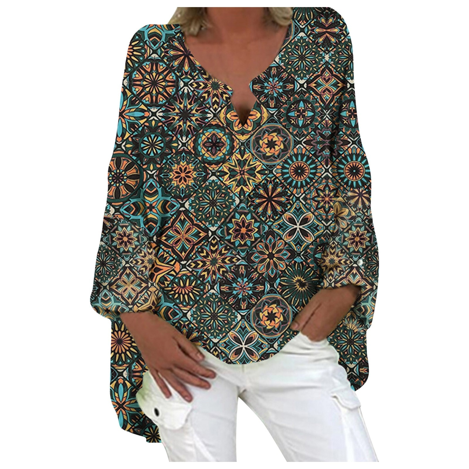 Women Casual Long Sleeve Cotton and Linen Loose Blouse Spring V Neck Print Irregular Shirt Vintage Oversized Tops Plus Size 5XL  - buy with discount