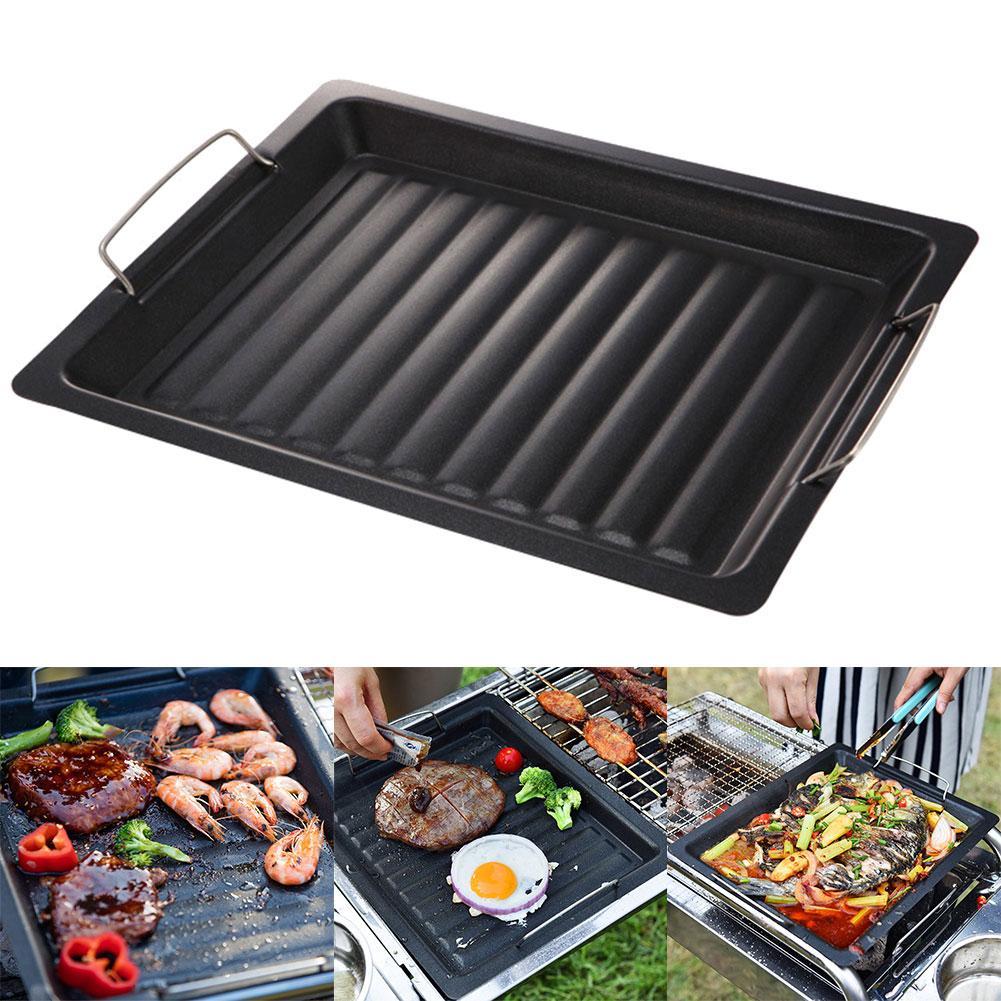 BBQ Grill Basket Pans- Vegetable Meat Holder Anti-rust Roasting Tin Barbecue Pan Tool bandeja horno rondel do gotowania