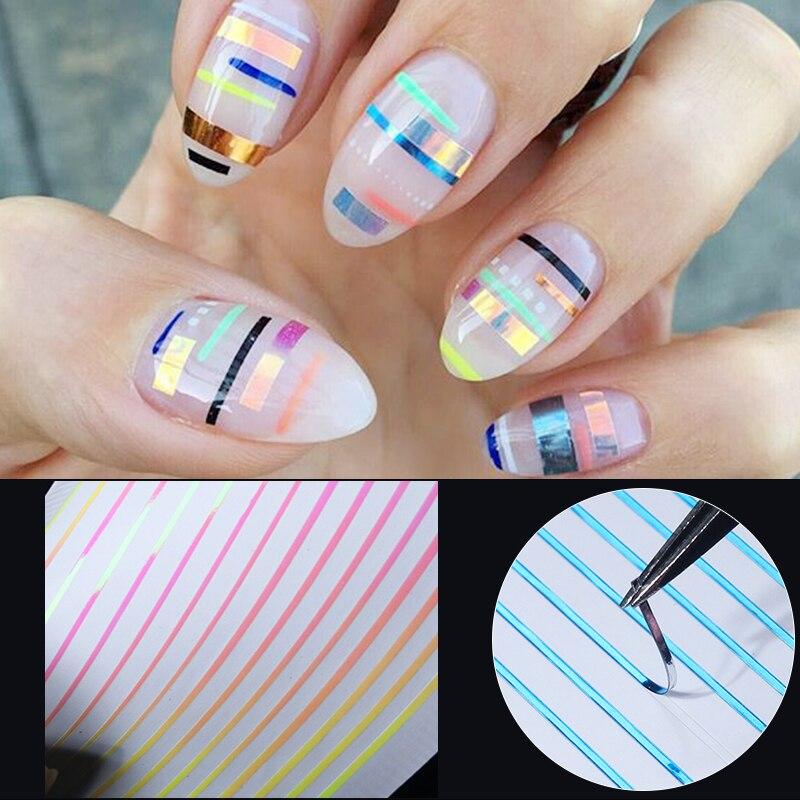 1 hoja calcomanía 3D para uñas línea colorida rosa azul patrones mixtos calcomanías de transferencia de uñas calcomanías para arte de uñas DIY Decoraciones y diseños