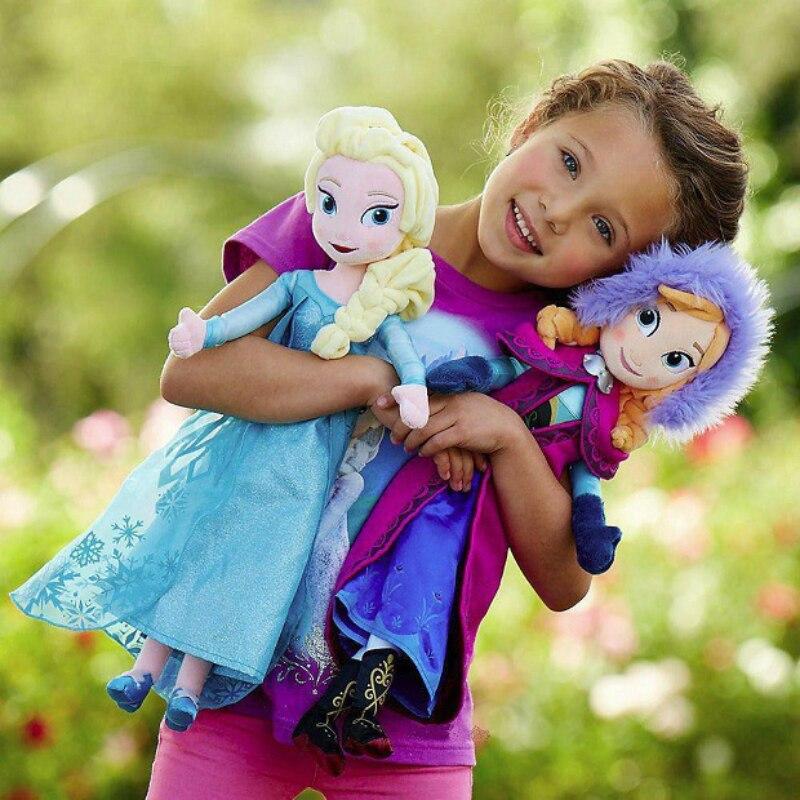 50 CM Frozen Anna Elsa muñecas reina de la nieve Anna Elsa muñeca juguetes de peluche congelados niños juguetes cumpleaños Navidad regalo