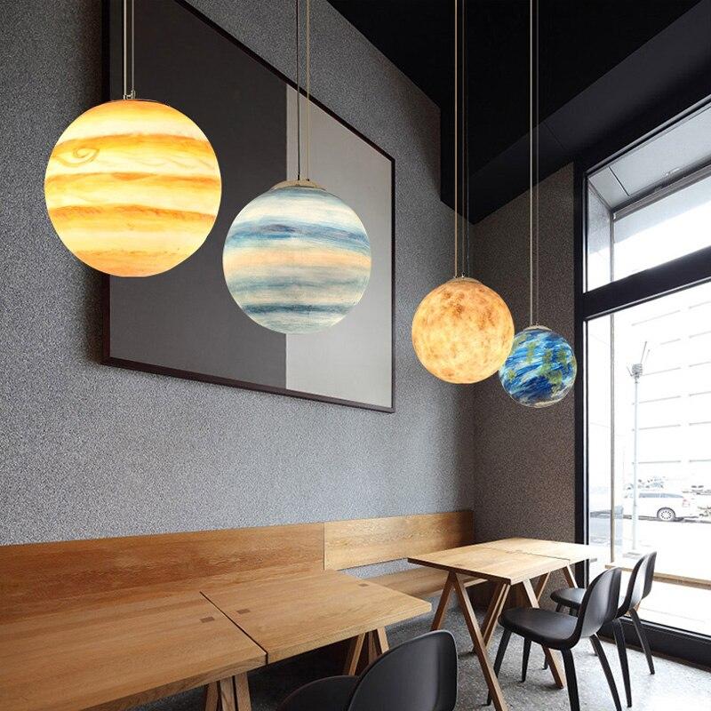 Artpad Nordic Pendant Lamp Ball Creative Acrylic Resin Lampshade Adjustable Height Decorative Hanging Light Fixtures