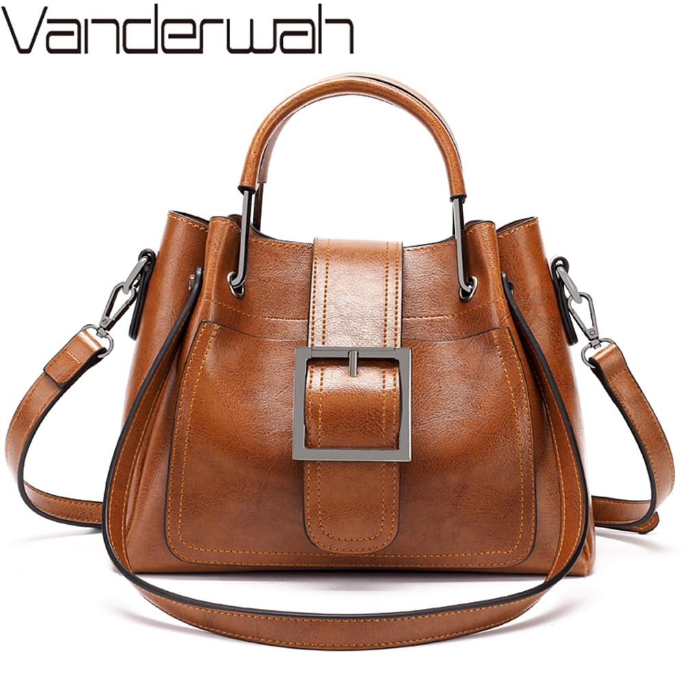 2021 Women Messenger Bag Vintage Shoulder Bag Women Handbags Designer Hight Quality Oil Wax Leather Tote Bags Ladies HandBag Sac