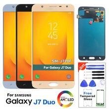 Para samsung galaxy j7 dou 2018 j720m j720f display lcd digitador da tela de toque para samsung j720 display substituição com ferramentas
