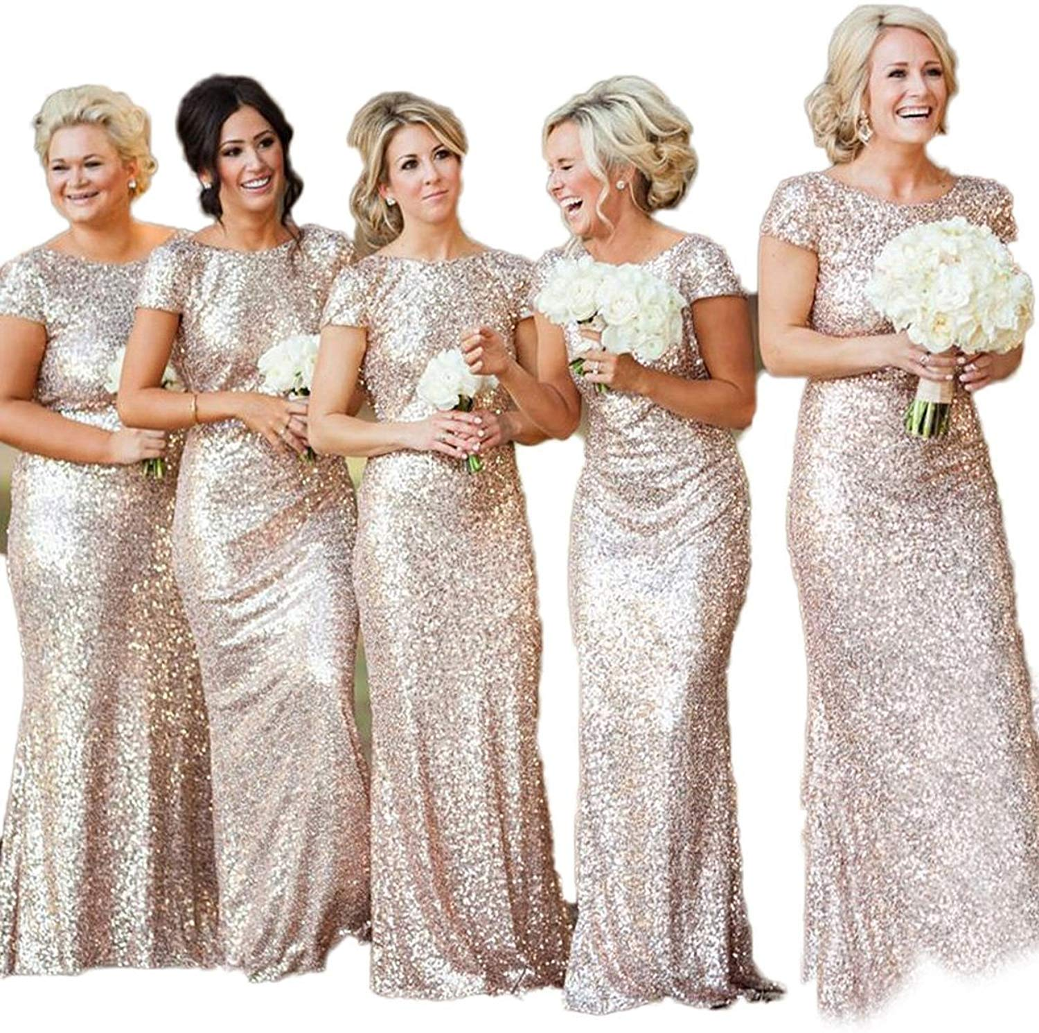 maid of honor dresses for weddings bridesmaid party dresses for women long prom dress graduation dresses back of bandage a line Bling Sequins High Neck Long Bridesmaid Dresses Sheath Prom Dresses Maid Of Honor Dresses Formal Gowns Party Dress