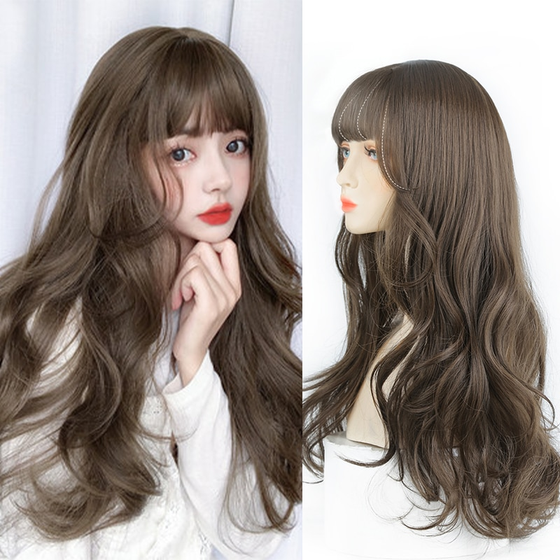 AliExpress - Allaosify Long Curly Lolita Wig with Bangs for Women Black Brown Light Grey Color Wavy Heat Resistant Synthetic Cosplay Wig