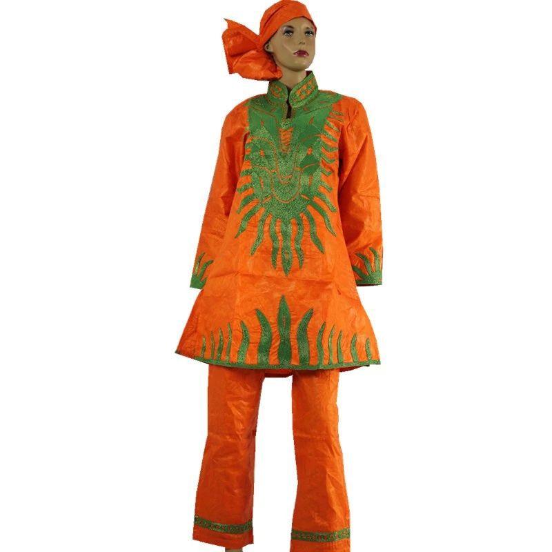 MD verde naranja pantalones traje para mujeres de talla grande Sudáfrica señoras ropa camisa pantalones conjunto tradicional Dashiki atuendo femenino