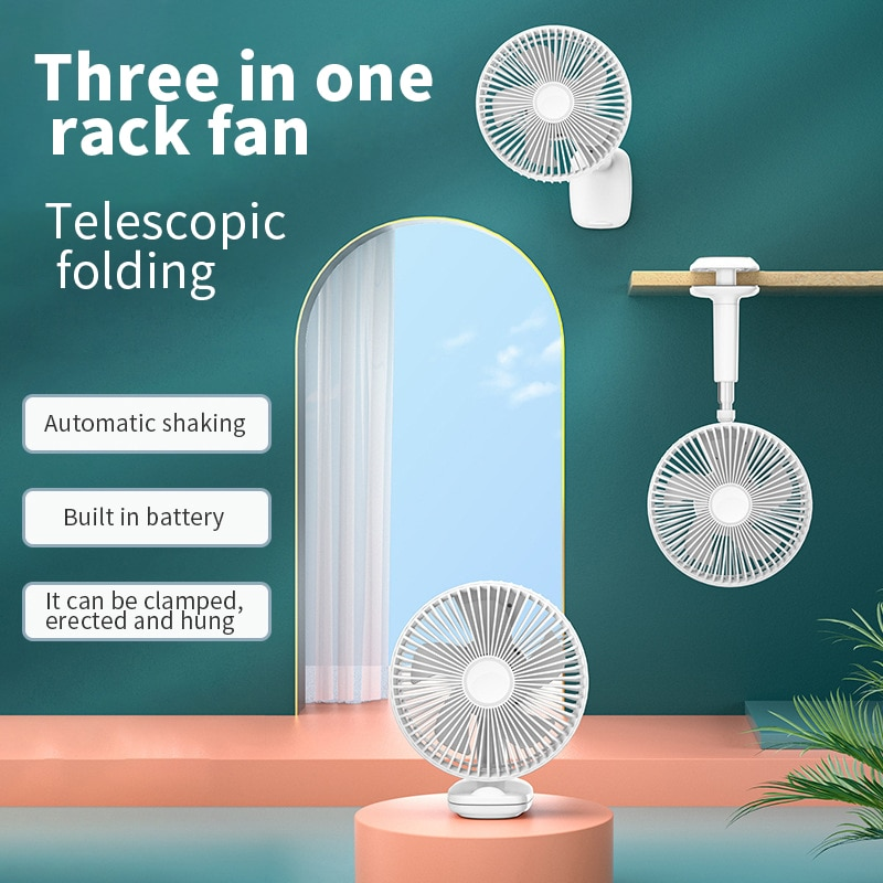 Design de Armazenamento Retrátil e Dobrável Pendurado a Parede Trole ao ar Integrado Desktop Clip-on Ventilador Elétrico ou Livre Usb F8: