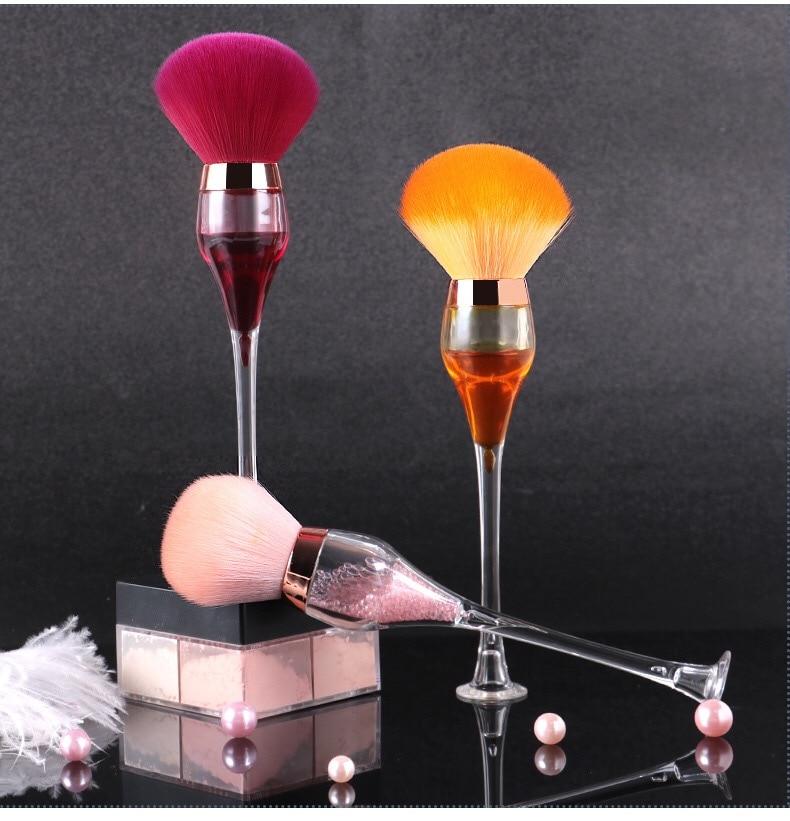 Atacado vinho tinto vidro estilo maquiagem super macio fibra de cabelo único grande estuque moda ferramentas beleza ad001